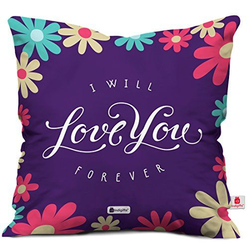 Indigifts I Will Love You Forever Quote Printed Purple Cushion Cover 12x12 inches with Filler - Valentine Gifts for Girlfriend Boyfriend, Birthday Gift for
