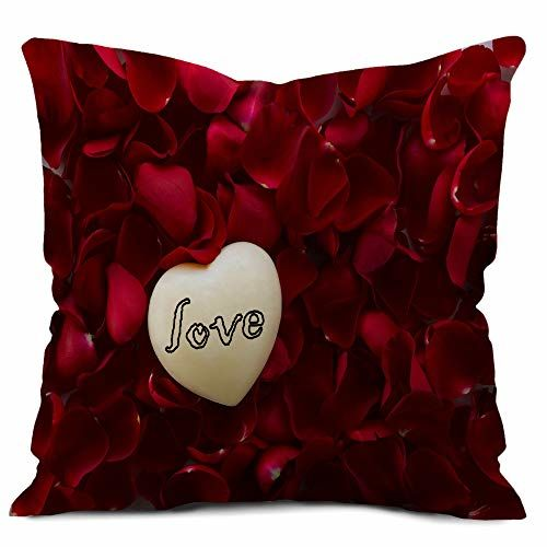 Gemshop Love Quoted on Heart with Rose Petals Cushion Cover with Filler 12x12 Gift for Wife | Gift for Hubby | Boyfriend |Girlfriend