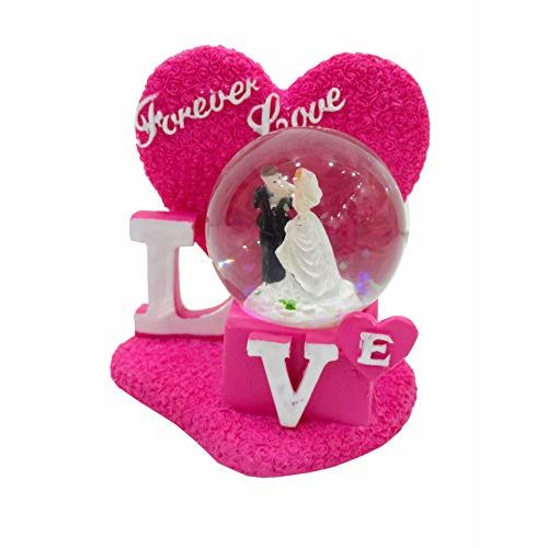 Generic Unique Palette Love Couple Showpiece with Crystal Glass Lobe/Gift for Lover/Loving Couple Showpiece Statue Valentine Gifts for Husband/Marriage
