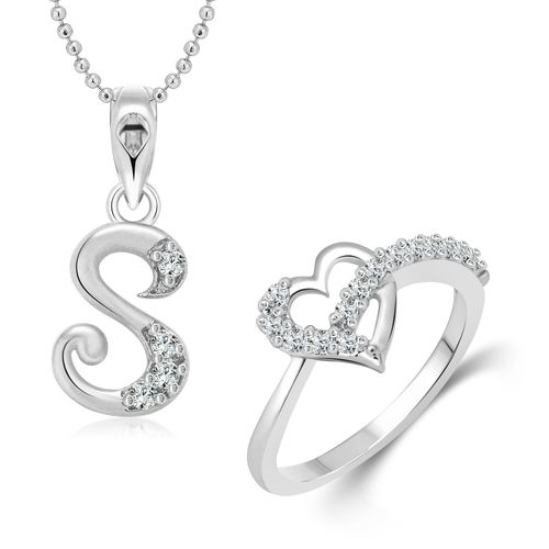 Vighnaharta Valentines Heart Ring with Initial Alphabet ''S'' Pendant Silver and Rhodium Plated Jewellery Combo set