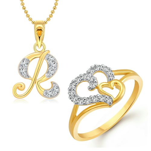 Vighnaharta Couple Heart Ring with Initial Letter ''R'' Pendant Gold and Rhodium Plated Jewellery Combo set