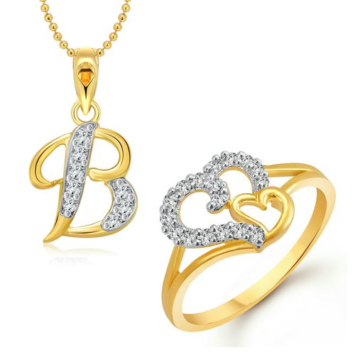 Vighnaharta Couple Heart Ring with Initial Letter ''B'' Pendant Gold and Rhodium Plated Jewellery Combo set