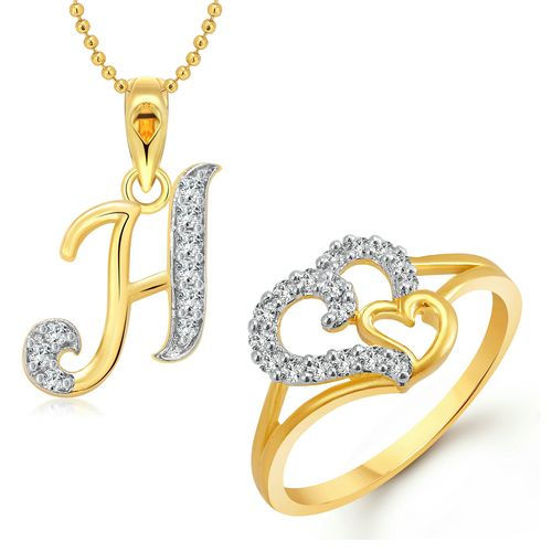 Vighnaharta Couple Heart Ring with Initial Letter ''H'' Pendant Gold and Rhodium Plated Jewellery Combo set