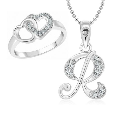 Vighnaharta Hum Tum Heart Ring with Initial Alphabet ''R'' Pendant Rhodium Plated Jewellery Combo set
