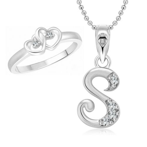 Vighnaharta Dual Heart Ring with Initial ''S'' Alphabet Pendant Rhodium Plated Jewellery Combo set