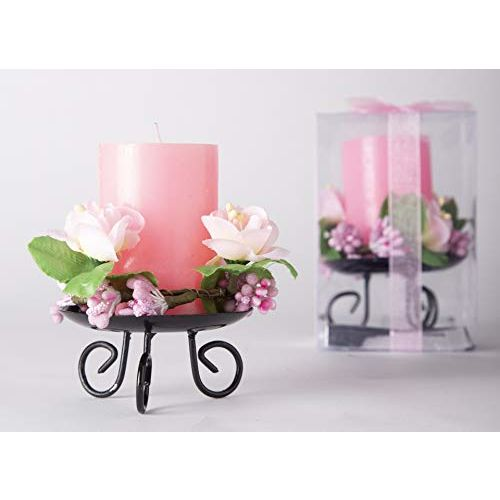 Avighna Decorative Scented Aroma Candle with Metal Stand for Secret Santa Valentine Love Bedroom Home Decoration (Pink)