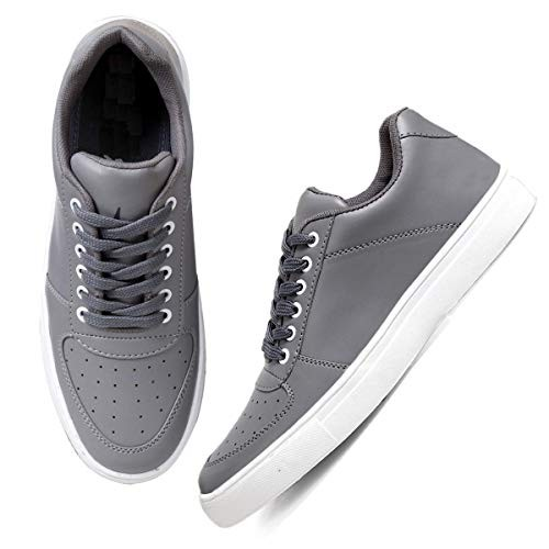 Red Rose Grey Synthetic Lace Up Sneakers