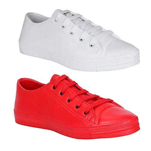 JBF Candico Combo Tennis Red & White Lace Up Shoes