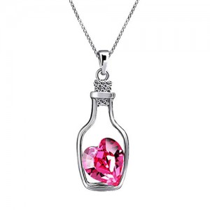 Oviya Valantine Rhodium Plated Solitaire Pink Crystal Heart Bottle Pendant for Women PS2101619RPin