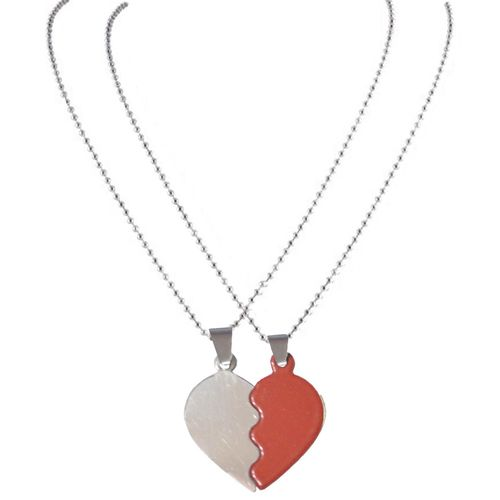Men Style 2016 New Fashion Couples BrokenHeart Love Necklace Red And Silver Stainless Steel Heart Pendent For Men And Women