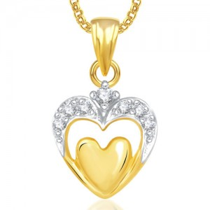 Meenaz Heart Pendants For Women Girls With Chain Gold Plated In American  Diamond Love Valentine Gifts cd33f09081398