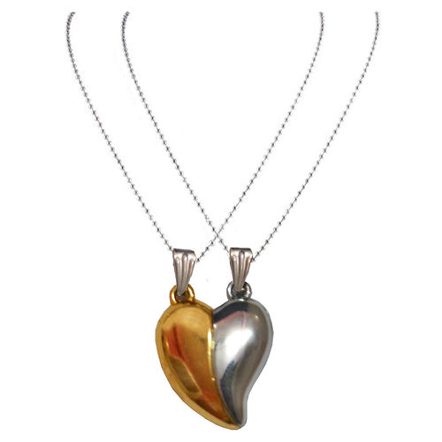 Men Style Couples Broken Heart Mangnetic LoveGold And Silver 316 Lstainless Steel Heart Pendent For Men And Women