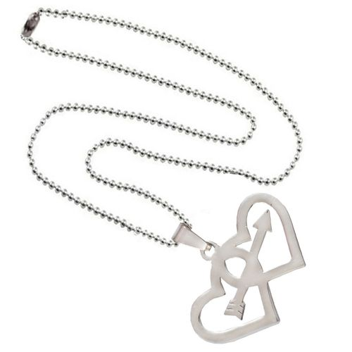 Men Style Heart Heart Arrow Silver Stainless Steel Heart Necklace Pendant With Chain For Boys And Girls