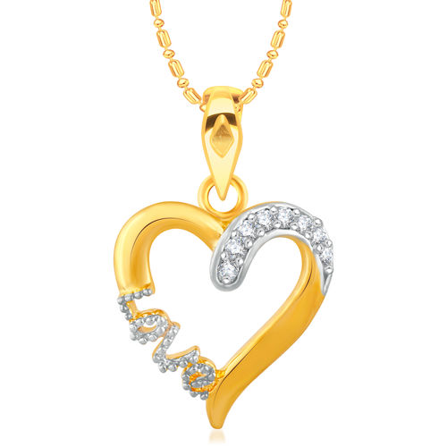 Vidhi Jewels Gold Plated Heart LOVE Diamond Studded Alloy and Brass Pendant for Women Girls VP277G