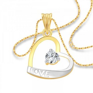 Vighnaharta Solitaire LOVE Heart CZ Gold and Rhodium Plated Alloy Pendant with Chain for Girls - VFJ1201PG