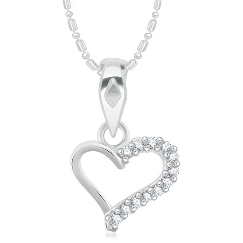 Vidhi Jewels Rhodium Plated Curved Heart Diamond Studded Alloy and Brass Pendant for Women Girls VP275R