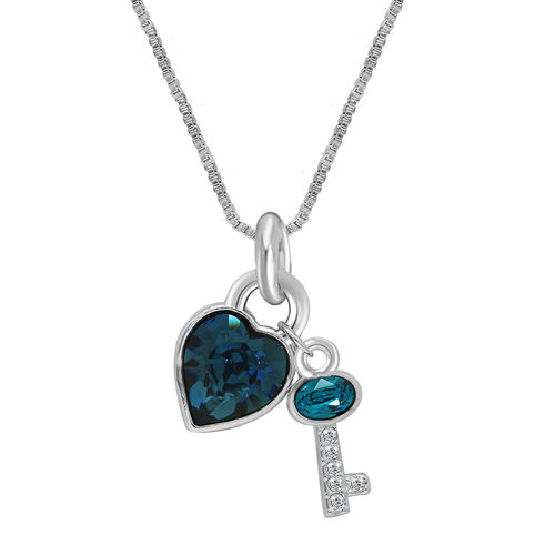 Oviya Rhodium Plated Valentine Collection Heart and Key Solitaire Pendant with Crystal Stones PS2101617RBlu