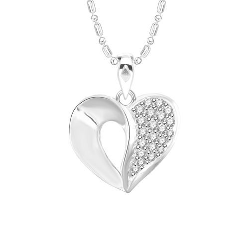 Vidhi Jewels Rhodium Plated Curved Heart Diamond Studded Alloy Brass Pendant for Women Girls VP258R