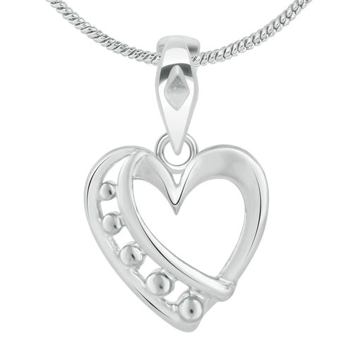 Vidhi Jewels Rhodium Plated Heart Alloy Brass Pendant for Women and Girls VP285R