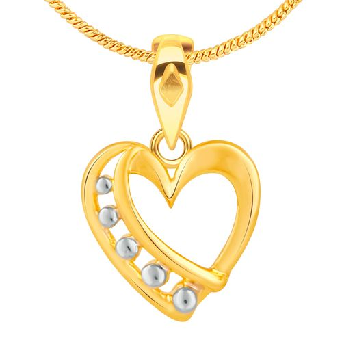 Vidhi Jewels Gold Plated Heart Alloy Brass Pendant for Women and Girls VP285G