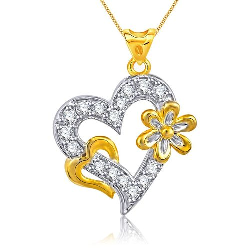 Vidhi Jewels Gold Plated Heart Flowery Pattern Alloy & Brass Pendant for Women & Girls [VP150G]