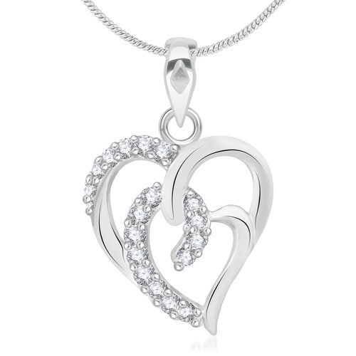 Vidhi Jewels Rhodium Plated Trendy Hearts Alloy Pendants for Women VP124R