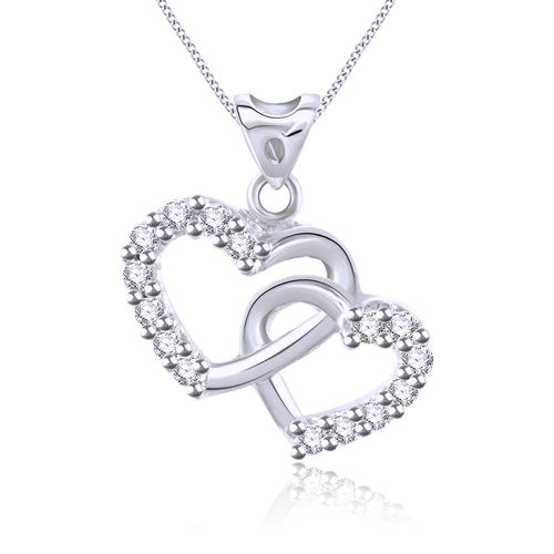 Vidhi Jewels Rhodium Plated Bonded Hearts Brass Pendant for Girls & Women [VP174R]