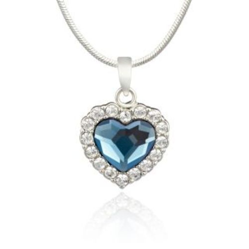 dafe5614a23f ... Mahi Rhodium Plated Montana Blue Titanic Heart Pendant Made With  Swarovski Elements For Women Ps1194119R ...