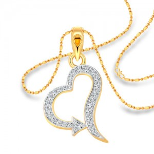 Vighnaharta Super Arrow Heart CZ Gold and Rhodium Plated Alloy Pendant with Chain for Girls and Women - VFJ1212PG
