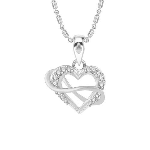 Vidhi Jewels Rhodium Plated Trendy Heart Diamond Studded Alloy and Brass Pendant for Women Girls VP133R