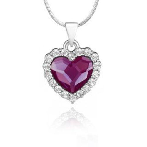 Mahi Fashion Mahi Rhodium Plated Purple Titanic Heart Pendant Made with Swarovski Elements