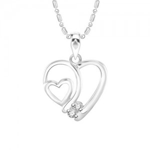Vidhi Jewels Rhodium Plated Couple Heart Diamond Studded Alloy Brass Pendant for Women Girls VP246R