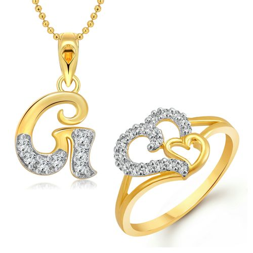 Vighnaharta Couple Heart Ring with Initial Letter ''G'' Pendant Gold and Rhodium Plated Jewellery Combo set