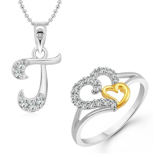 Vighnaharta White Couple Heart Ring with Initial Alphabet ''J'' Pendant Silver and Rhodium Plated Jewellery Combo set