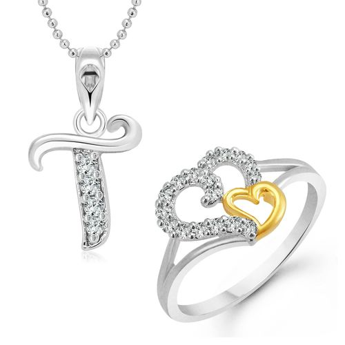 Vighnaharta White Couple Heart Ring with Initial Alphabet ''T'' Pendant Silver and Rhodium Plated Jewellery Combo set