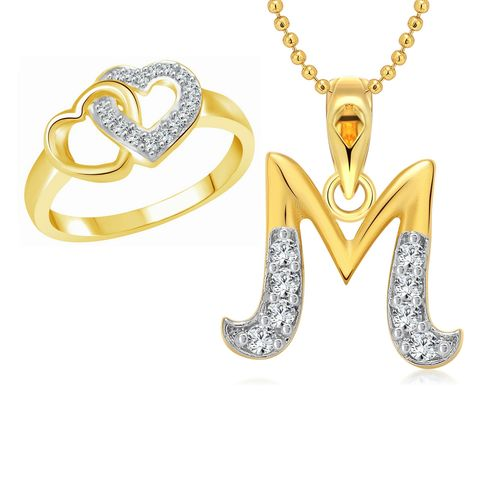 Vighnaharta Hum Tum Heart Ring with Initial Letter ''M'' Pendant Gold and Rhodium Plated Jewellery Combo set