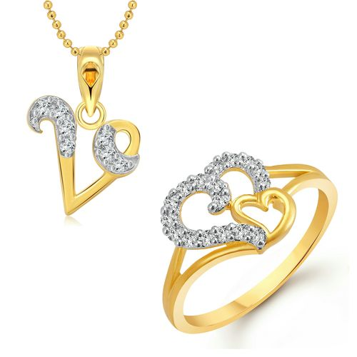 Vighnaharta Couple Heart Ring with Initial Letter ''V'' Pendant Gold and Rhodium Plated Jewellery Combo set