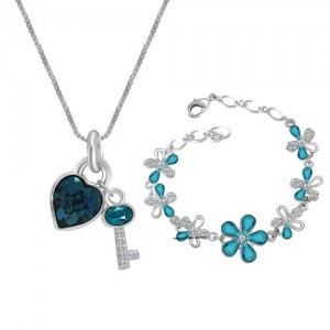 Oviya Valentine Collection Rhodium Plated Combo of Romantic Crystal Heart Key Pendant and Floral Bracelet CO2104709R
