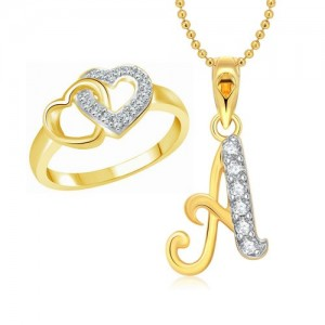 Vighnaharta Hum Tum Heart Ring with Initial Letter ''A'' Pendant Gold and Rhodium Plated Jewellery Combo set