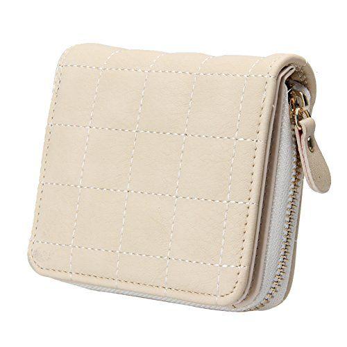 Bestvech Beige Polyurethane Leather Plaid Wallet
