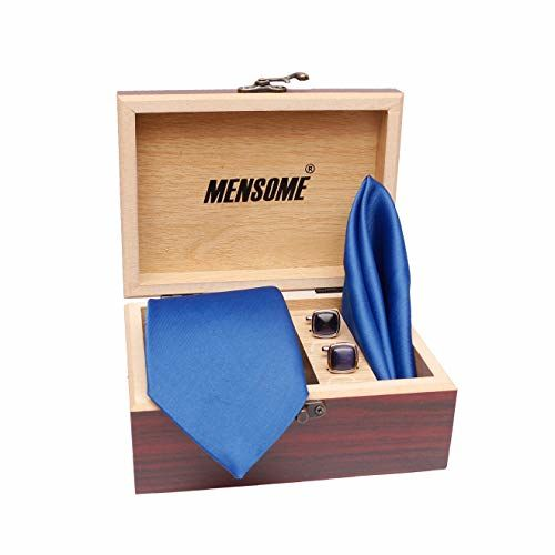 MENSOME Solid Neck tie with Cufflinks and Pocket Square gift set in men's ties(Blue)