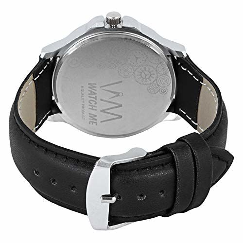 Watch Me Day Date Black Leather Analog Mens Watch DDWM-088