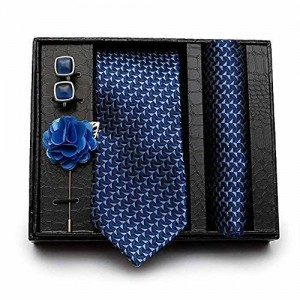 Axlon Men's Necktie, Pocket Square, Lapel Pin Cufflinks Set (Multicolor)