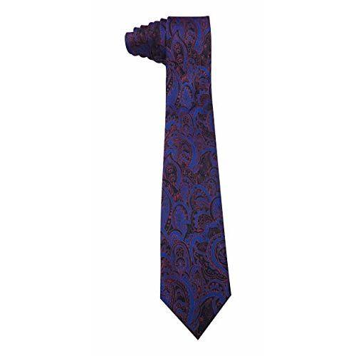 Riyasat - Paisley Design Pink, Blue, Black Color Combination Jacquard Men's Tie, Cufflinks and Pocket Square Gift Set (R_0036)