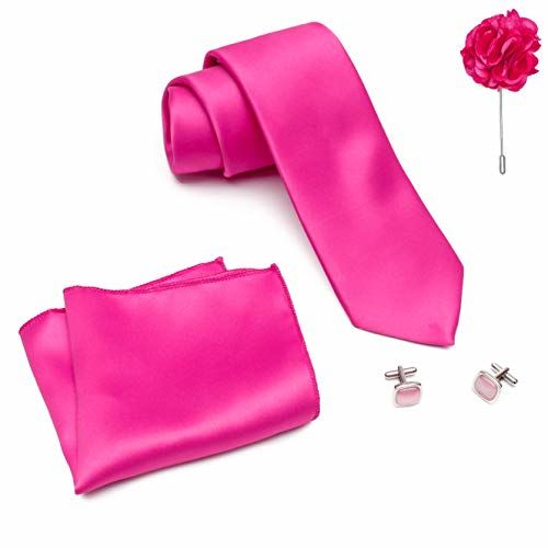 MENSOME Men's Cotton Hot Pink Necktie Pocket Square Lapel pin Cufflinks Gift Set