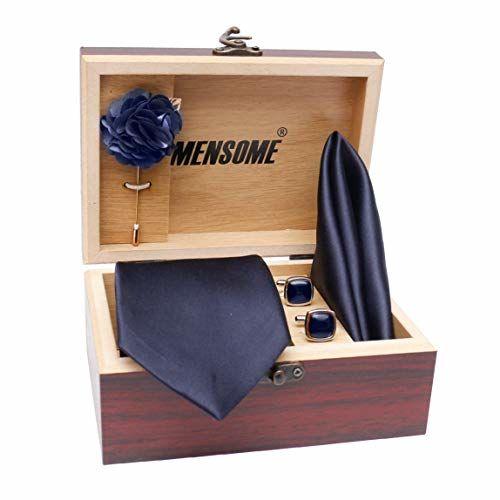 MENSOME Men's Cotton Navy Blue Necktie Pocket Square Lapel pin Cufflinks Gift Set