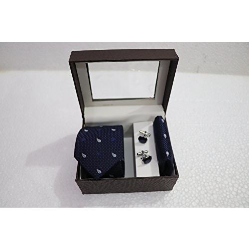 Generic Royal Attire Men Dark Blue Tie, Cufflink And Pocket Square Gift Set