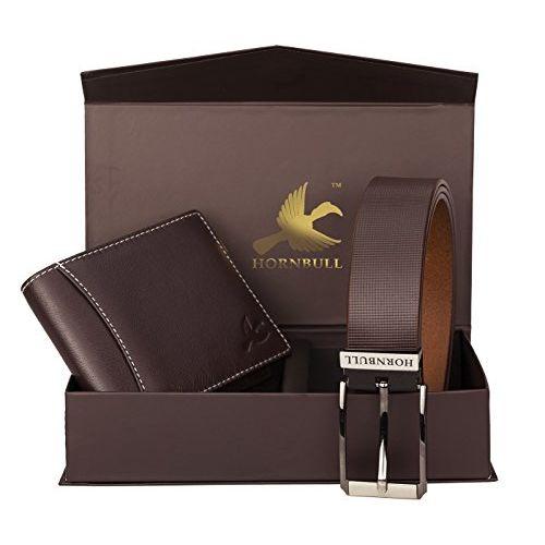 HORNBULL Brown Leather Bi Fold Wallet Combo