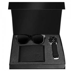 LORENZ Black Round Leather Analong Watch