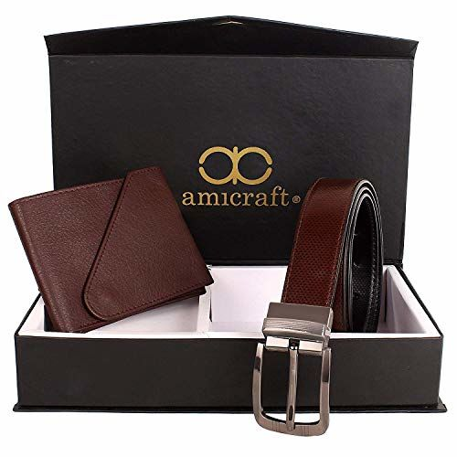 Amicraft PU Leather Brown Men's Wallet and Belt Combo - Pack of 2